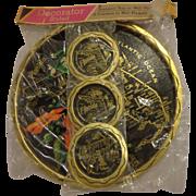 Vintage Florida Serving Tray with Matching Coaster Set Retro Kitsch