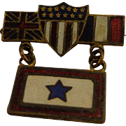 Rare WWI Son in Service Pin Allies US, UK, France Flags w Blue Star