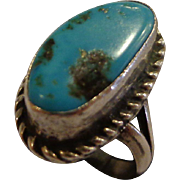 Vintage 1970s Turquoise Sterling Silver Ring Ladies