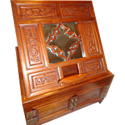 Spectacular Midcentury Chinese Ladies Vanity Traveler's Box with Carved Dragons