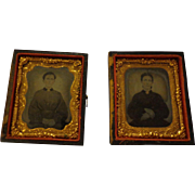 Rare Set of 2 Antique Tintypes of the Same Woman as Adolescent and Adult Mourning