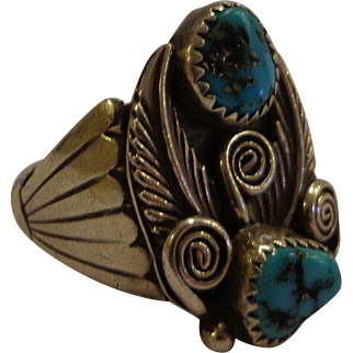 Gorgeous Sterling Turquoise Navajo Ring Unisex Signed DS
