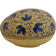 Prewar Russian Lacquer Papier Mache Egg Box Handpainted Blue & Gold