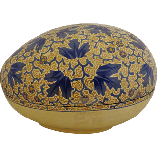Prewar Russian Lacquer Papier Mache Egg Box Handpainted Blue & Gold