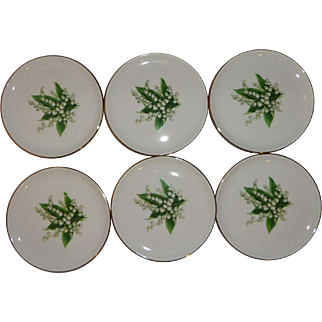 Vintage Set of 6 German Butter Pats made by Schumann Lily of the Valley Plates