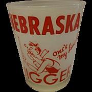 Rare Vintage Nebraska Jigger Teetotaler Mid Century Frosted White Glass Tumbler