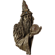 Signed JJ Vintage Wizard and Crystal Ball Pewter Brooch Pin