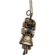 Vintage Sterling Navajo Kachina Dancer Doll Pendant Necklace Turquoise Southwest