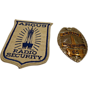 Rare Argus Radio Security Police Badge by Entenmann Deco Style w/ Patch