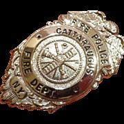 Rare Vintage Cattaraugus Fire Police Badge New York Blackinton