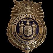 Vintage Sterling Deputy Sheriff Police Badge Chemung County NY Deco Silver Elmira