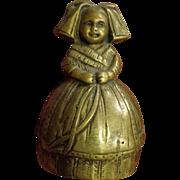 Antique Figural Bronze Bell Victorian Girl Servant Dinner Boot Ringer