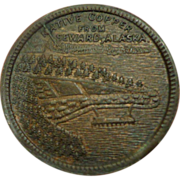 Alaska Copper Trade Token Seward Northern Saloon Billiards 1907-42 Alaska Native