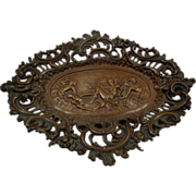 Rare Antique French Bronze Filigree Centerpiece Victorian Tray Greek Mythology Neoclassical Theme
