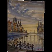 Fabulous Vintage Amsterdam Watercolor Original Signed G Pol Impressionist