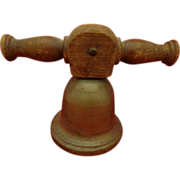 Antique School Bell Brass With Original Turned Wood Bracket 1800s