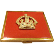 Fabulous 1953 Elgin Queen Elizabeth II Coronation Enamel Compact w/ Papers & Case American Made