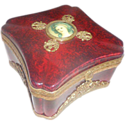 Sevres Red Oxblood Porcelain Dresser Box Scottish Thistle Theme Hinged Lid Early 1930's France Jewelry