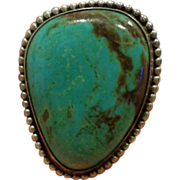 Vintage Navajo Sterling Silver Turquoise Ring Signed DC
