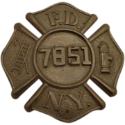 Vintage NYFD Fireman Breast Badge c 1930s Fire Department New York City