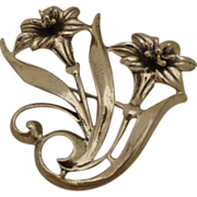 Beautiful Jewelart Sterling Brooch Pin Aesthetic Mid Century Design Lilies