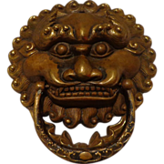 Authentic Antique Chinese Door Knocker / Handle Brass Lion  Asian Art - Red Tag Sale Item