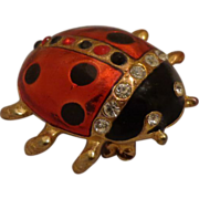 Vintage Enamel and Rhinestone Ladybug Brooch Pin