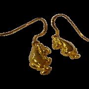 RARE Vintage Disney Eeyore Sterling Silver Gold Clad Earrings