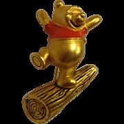 Vintage Disney Winnie the Pooh Enamel Pin Brooch Happy & Joyful