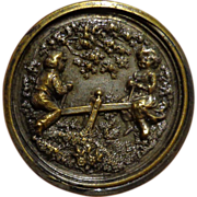 Rare Antique Victorian Seesaw Button Children at Play Figural