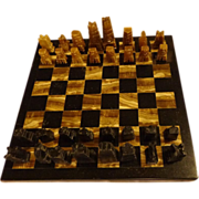 Vintage Hand Carved Marble & Onyx Chess Set Game Board & Pieces Made in Mexico