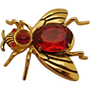Signed CORO Adolph Katz Jelly Belly Insect Pin Brooch Red Rhinestone Bug