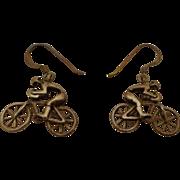 Sterling Silver Figural Bicycle Racer Earrings Vintage Retro .925