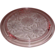 Lovely Pink Depression Glass 10 in. Footed Cake Plate Sunflower Design Kitchen Glassware