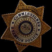 Vintage California Police Commissioner Badge Named Entenmann Los Angeles