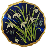 Lovely Snowdrops and Bluebells Powder Compact by Stratton Royal Blue Iridescent Enamel England