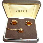 Nice Set of Vintage Swank Cufflinks and Tie Tack Retro 1970s Faux Tiger Eye