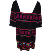 Beautiful Embroidered Cotton Dress by Moda International Boho Eastern European Design Bohemian