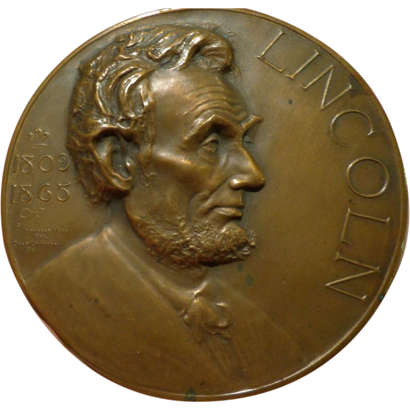 abraham lincoln bronze essay table medal award s d from  abraham lincoln bronze essay table medal award 1920s d