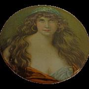 Antique Celluloid Exotic Gypsy Pocket Mirror Vanity Purse Accessory