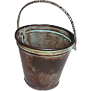 Scarce Antique Doll Toy Bucket Flowered Handle Tin w/ Copper Miniature - Red Tag Sale Item