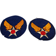 WWII 20th Set of Patches Removed from US Army Air Corps Uniform Military Insignia Air Force