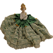 Beautiful Porcelain Half Doll Green Satin Dress w/ Lace Pincushion St Patrick's Day Gift