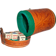 Vintage Tooled Leather Dice Cup Aztec Theme w/ Poker Dice Gambling Collectible