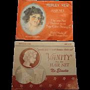 Vintage Hair Net Set Kurley Kew Vanity Human Hair Silk Fashion Style