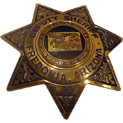 Rare Arizona Deputy Sheriff Badge Centennial Fredonia Blackinton Hi-Glo Police