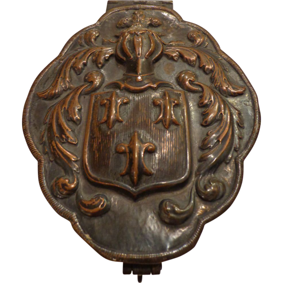 Antique Victorian Continental Tea Jar Medieval Coat of Arms SOLD on Ruby Lane