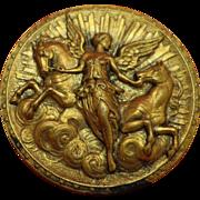 Magnificent Edwardian Art Nouveau Picture Button Aurora the Dawn Horses & Angel