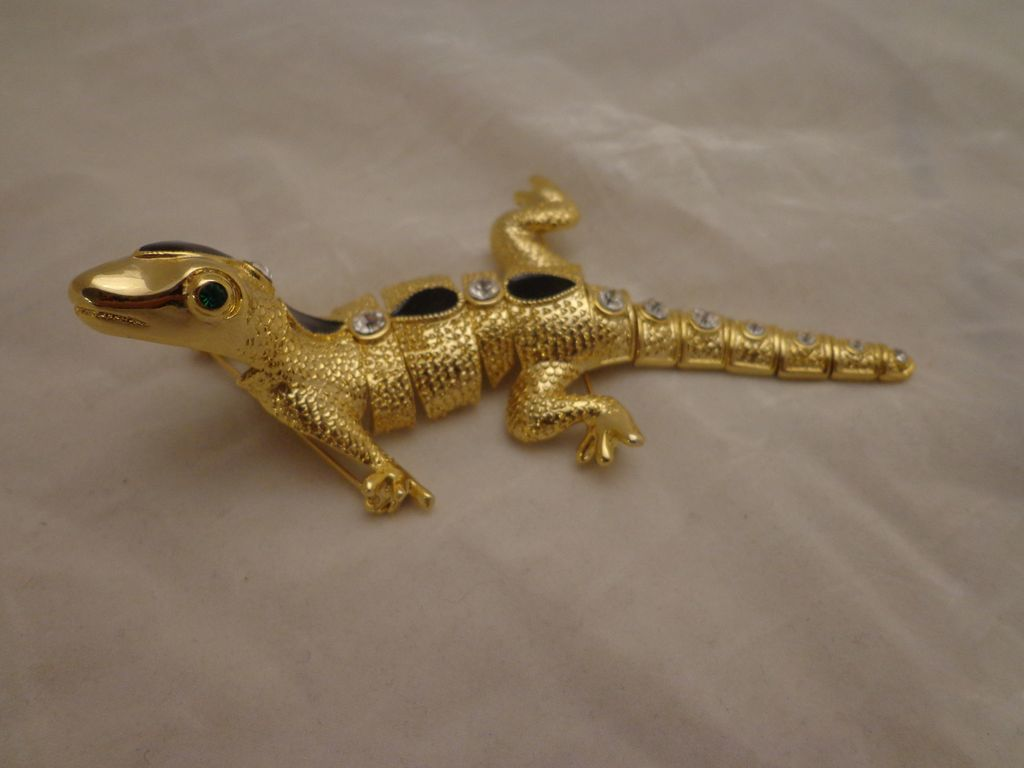 large vintage articulated gecko lizard brooch pin w rhinestones