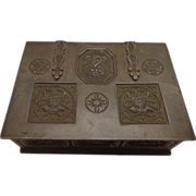 Outstanding Rare Pewter Antique Cigar Box Humidor Continental Early Victorian